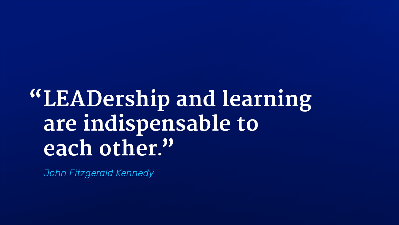 John Fitzgerald Kennedy marketing quote leadership and learning indispensable