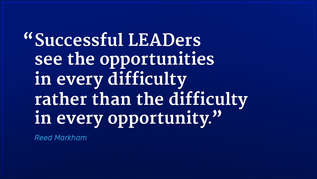 Reed Markham marketing quote successful leaders see opportunities