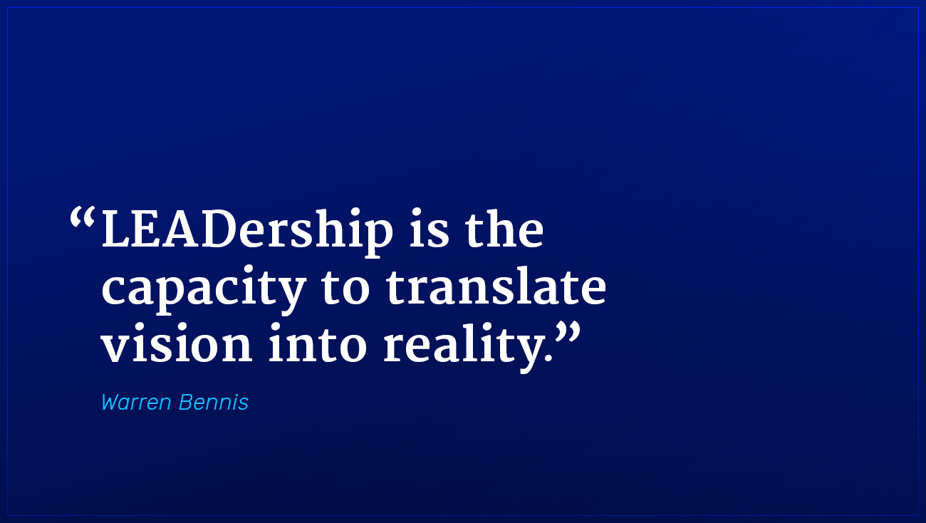 Warren Bennis marketing quote leadership translates vision into reality