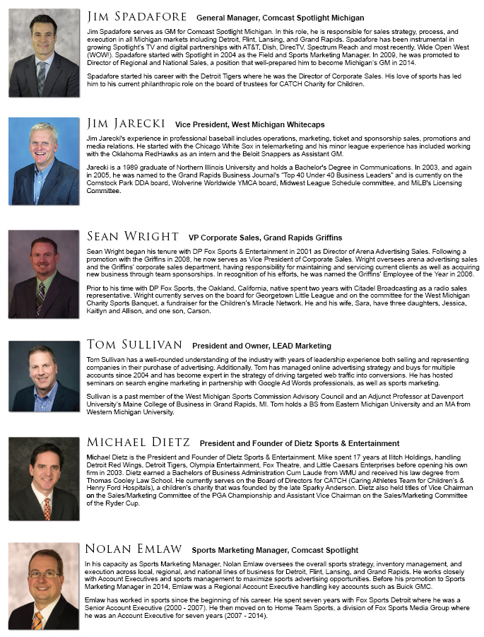 Featured Sports Marketing panelists - Grand Rapids, Michigan