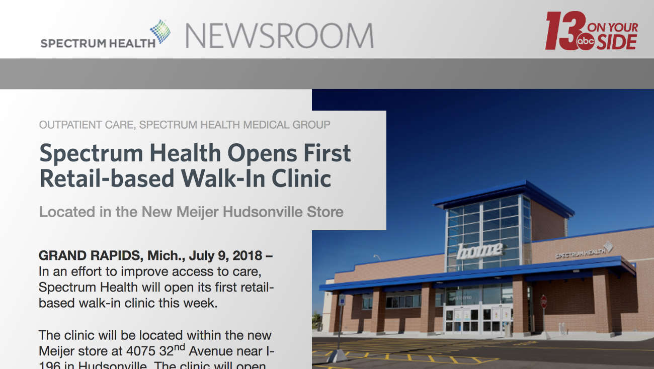 Spectrum Health Regional Marketing in Meijer Hudsonville