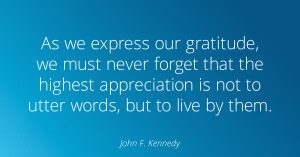 John F Kennedy Quote about gratitude