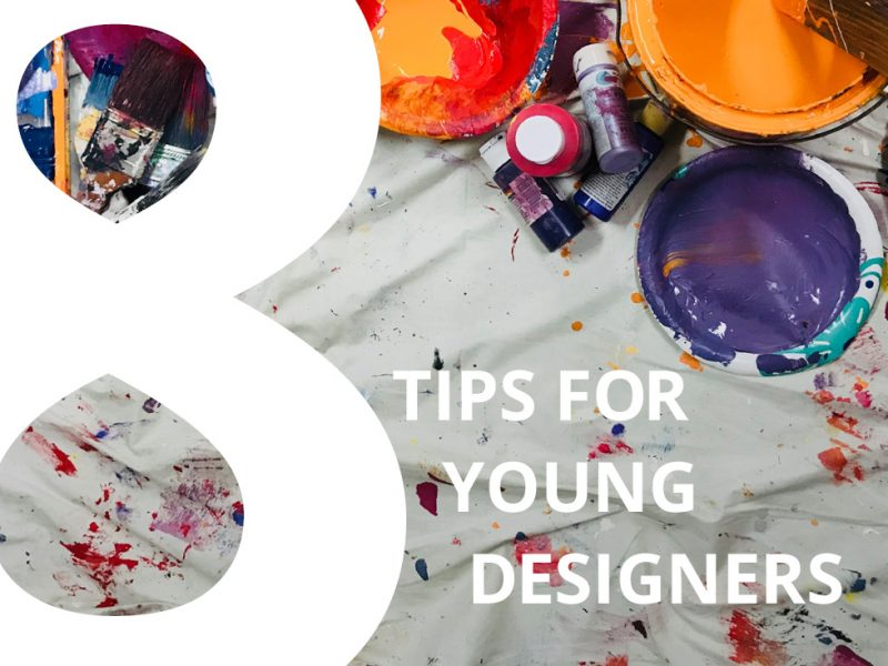 8 Tips for Young Designers text with paint